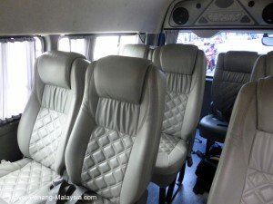 Photo of the seats inside a Penang to Hat Yai minibus