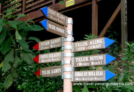 Penang National Park sign post with distance to walk