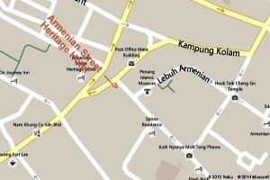 Close up Map of the Armenian Street Heritage Hotel Penang