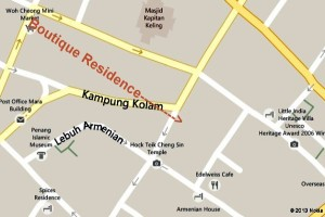 Close up Map of The Boutique Residence Hotel Penang