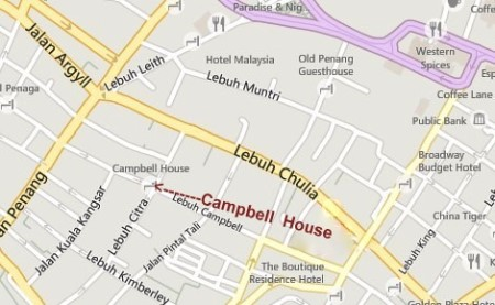 Campbell House Penang Map