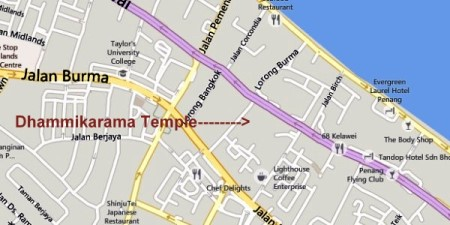 Map of the Dhammikarama Temple in Penang