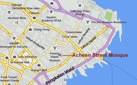 Map of Acheen Street Mosque Penang