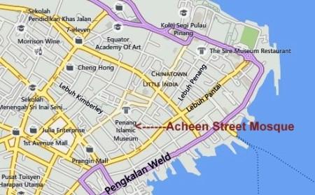 Map of Acheen Street Mosque Penang