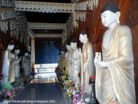 inside the Burmese Temple in Penang