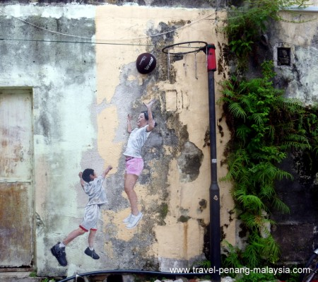 Street Art - Children Playing Basketball