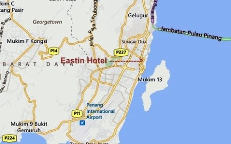 Map of the Eastin Hotel in Penang