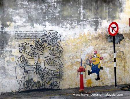 wall caricatures in Ah Quee Street Georgetown Penang