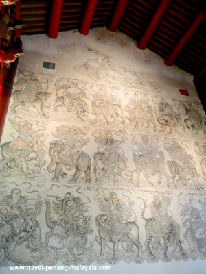 Wall painting inside the Khoo Kongsi Temple