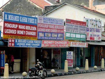 photo of the money changers along Pitt Street Penang