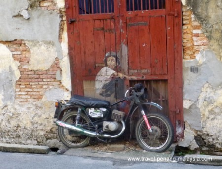 Old Motorcycle street art in Georgetown Penang