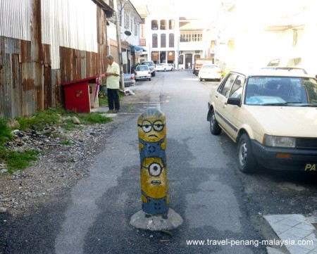 Painted Street Bollard in Georgetown Penang
