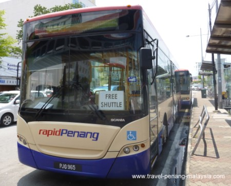 Photo of the Free Bus Service in Penang just in front of the Jetty bus terminal