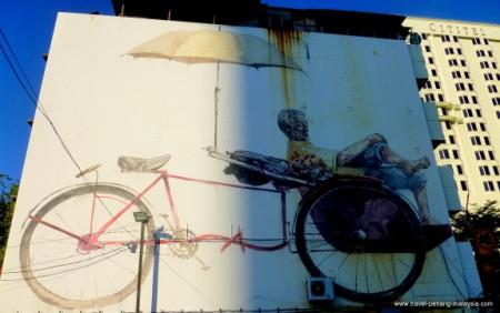 Penang Street Art Trishaw Man