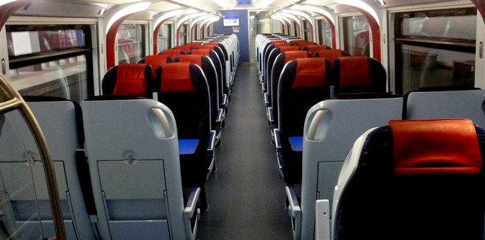 Seats on an ETS train from Penang to Kuala Lumpur