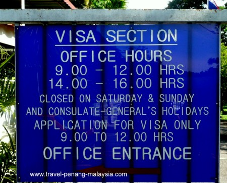 Royal Thai Consulate Penang Opening Times Sign