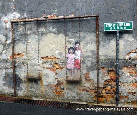 Penang Street Art - Children on a Swing