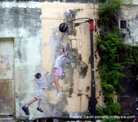 Street Art - Children Playing Basketball