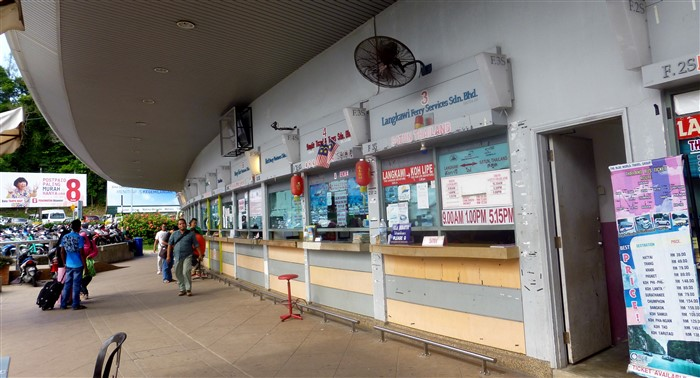 Ferry ticket counters at Kuah Jetty