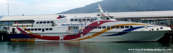 A high-speed ferry boat to Langkawi Island