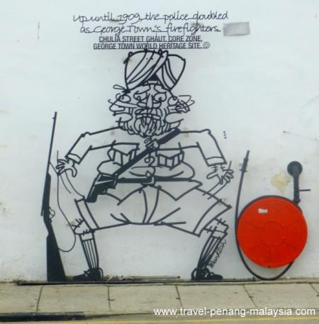 Iron wall caricature - Firemen