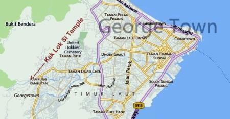 Map of the Kek Lok Si Temple in Penang