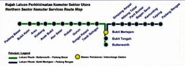 KTM Komuter Utara route map