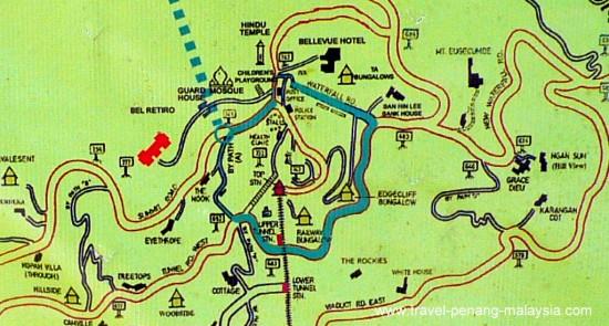 map of top Penang Hill