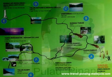 Penang National Park Trail Map
