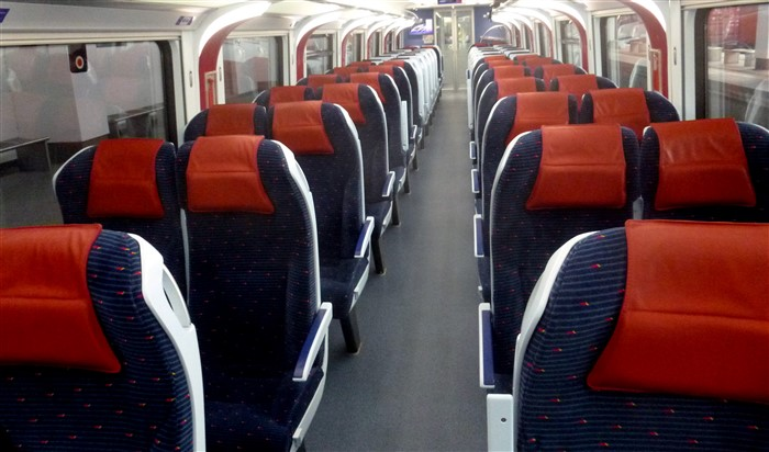 Seats on an ETS train from KL to Penang