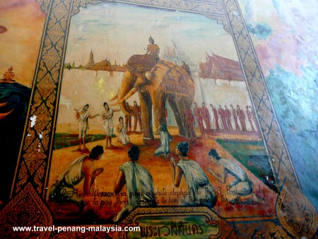 Wall painting at the Thai Temple in Penang