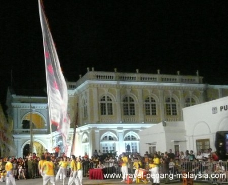 photo of Chingay in front of the Town Hall in Penang
